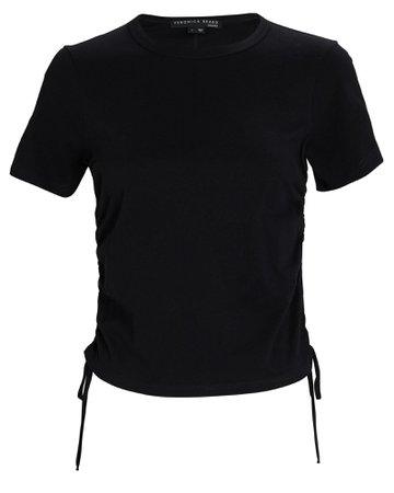 Veronica Beard Tazi Ruched Pima Cotton T-Shirt | INTERMIX®
