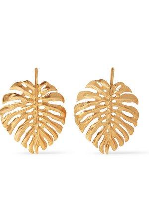 Oscar de la Renta | Monstera Leaf gold-plated earrings