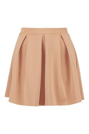 Basic Box Pleat Skater Mini Skirt | Boohoo
