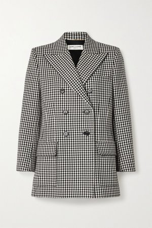 Black Double-breasted checked wool blazer | SAINT LAURENT | NET-A-PORTER
