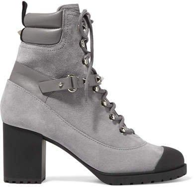 Garavani Rockstud 95 Leather-trimmed Suede Ankle Boots - Light gray