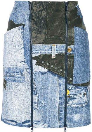 Pre-Owned denim print mini skirt