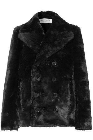SAINT LAURENT | Double-breasted faux fur jacket | NET-A-PORTER.COM