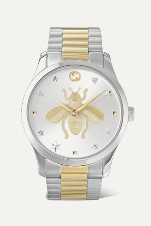 Silver G-Timeless 38mm stainless steel and PVD-plated watch | Gucci | NET-A-PORTER