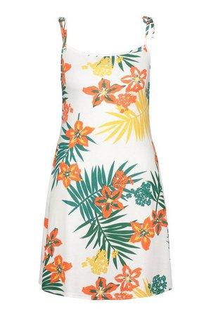 Leaf Print Rib Tie Shoulder Square Neck Swing Dress | boohoo