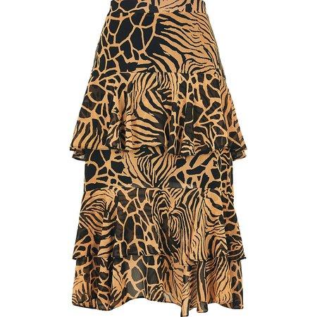 Brown animal print tiered frill midi skirt   River Island