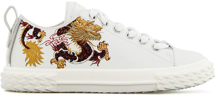 Blabber dragon embroidery sneakers