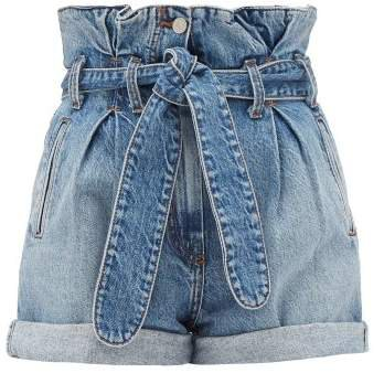 X The Attico Paperbag Waist Denim Shorts - Womens - Denim