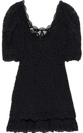 Tiered Crocheted Cotton Mini Dress