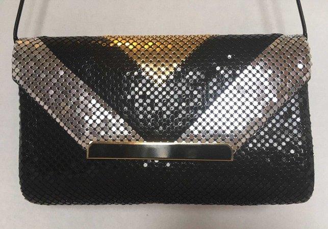 Vintage Y&S 80's Glam Rock Black Silver Gold Metal Mesh Clutch Purse [E10190947032485544M] - $25.00 : Charmup.top