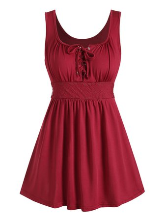 [24% OFF] 2020 Lace Panel Lace-up Tank Top In RED WINE | DressLily