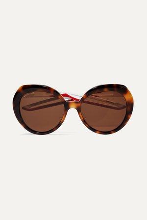 Tortoiseshell Round-frame tortoiseshell acetate sunglasses | Balenciaga | NET-A-PORTER