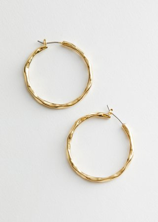 Hammered Hoop Earrings - Gold - Hoops - & Other Stories