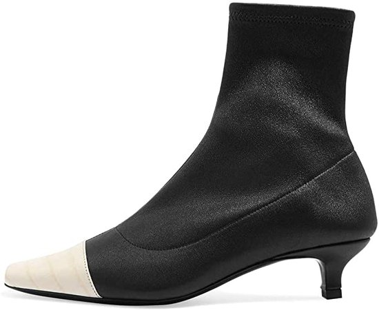 Amazon.com | FOWT Low Kitten Heel Square Toe Side Zip Sock Ankle Boots for Women, Two-Toned Elastic Slim Heeled Cap Toe Crocodile-Effect Canvas Patent Leather Short Booties 4-16 M US | Ankle & Bootie