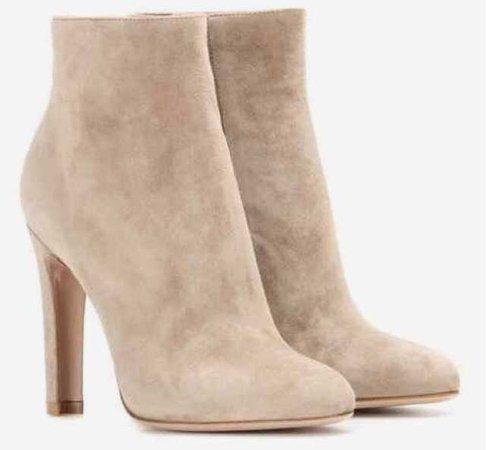 gianvito rossi dana high bootie suede ankle boots boot sock tan light brown heel heeled heels boots