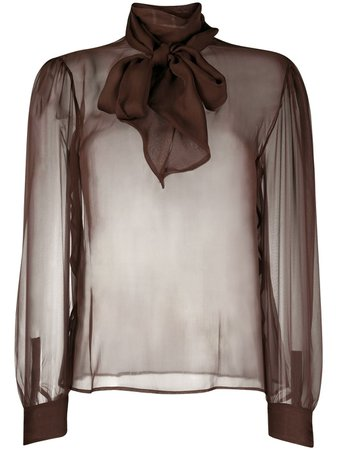 Saint Laurent, semi-sheer pussy-bow blouse