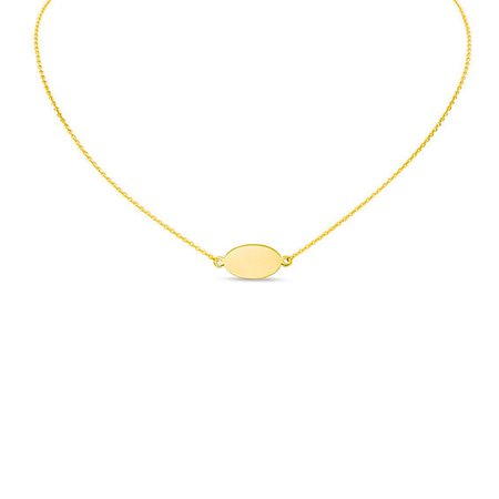 Mini Oval Choker Necklace in 14K Gold - 16"