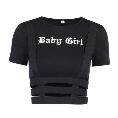 Baby Girl Suspender Harness Crop Top T-Shirt Black | DDLG Playground