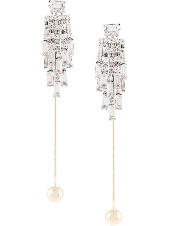 Silver Venna Ball Drop Crystal Fringe Earrings | Farfetch.com