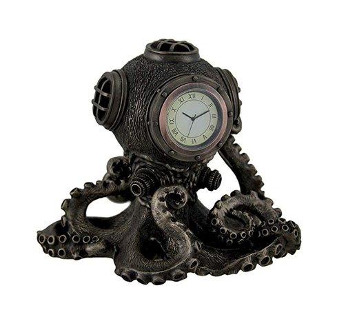 Veronese Design Clocks Bronze Finish Steampunk Octopus Diving Bell Clock Statue 5.9x5.5x5.2 Inches Bronze: Home & Kitchen