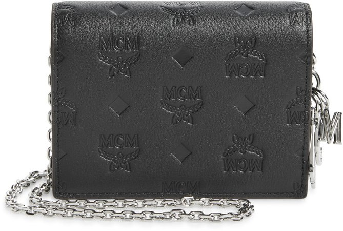 Klara Monogram Leather Wallet on a Chain