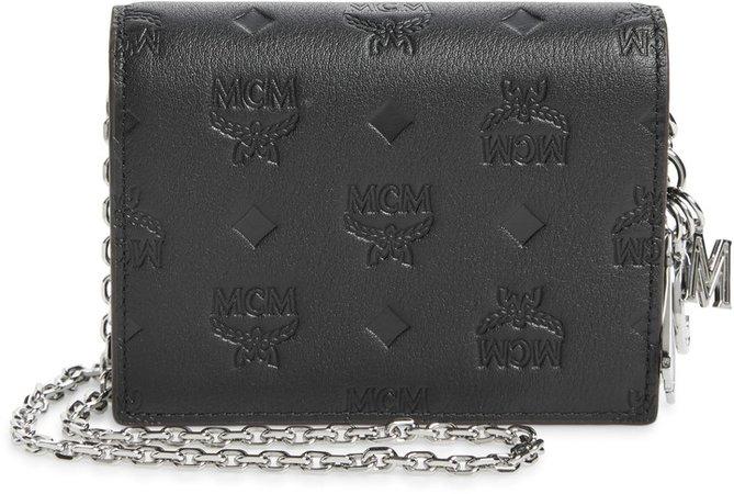 Klara Monogram Leather Wallet on a Chain