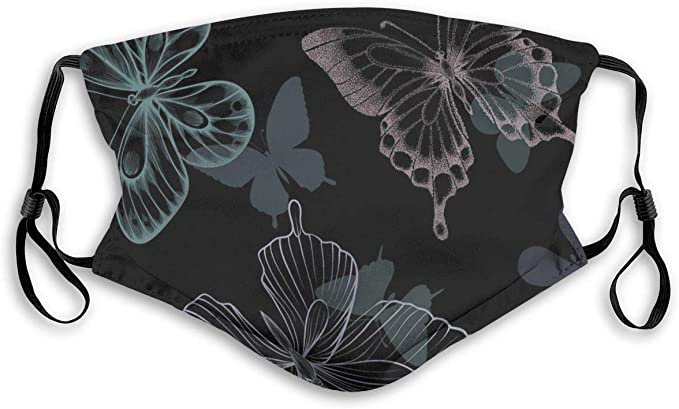 GTTYFH Protective Face Cover Decorative Butterflies Unisex Black Dust at Amazon Women's Clothing store