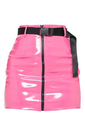 Neon Pink Vinyl Zip Front Belted Mini Skirt