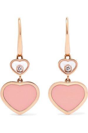 Chopard | Happy Hearts 18-karat rose gold diamond earrings | NET-A-PORTER.COM