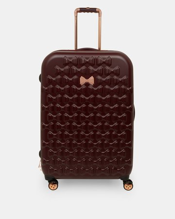Bow detail large suitcase - Maroon | Bags | Ted Baker UK