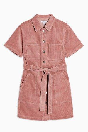Pink Corduroy Short Sleeve mini Dress | Topshop