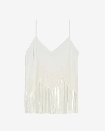 Satin Lace Pieced Pleated Cami