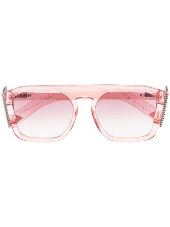 Fendi Eyewear Crystal F Square Sunglasses - Farfetch