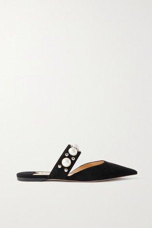 Basette Embellished Suede Point-toe Flats - Black