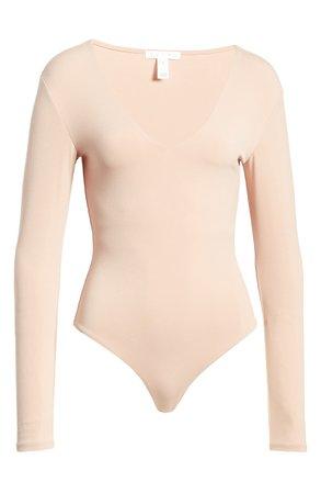 Leith Deep V-Neck Long Sleeve Bodysuit | Nordstrom