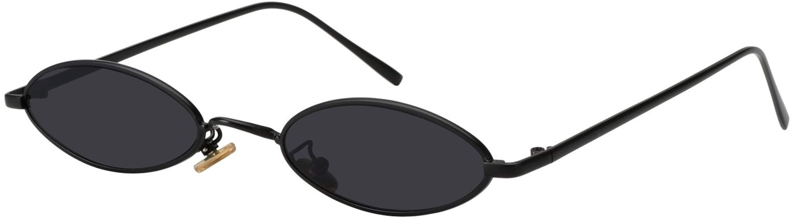 Amazon.com: ROYAL GIRL Vintage Oval Sunglasses Small Metal Frames Designer Gothic Glasses (BLACK GRAY): Clothing