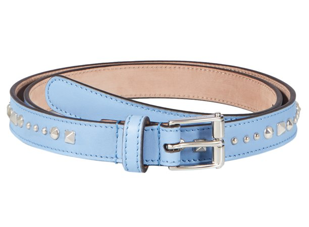 Gucci Women's Light Blue Studded Leather Slim Belt