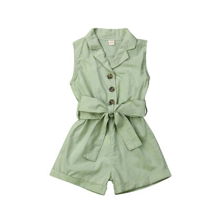 Winnie Sleeveless Bow-tie Waist Short Romper Jumpsuit - Olive and Quin