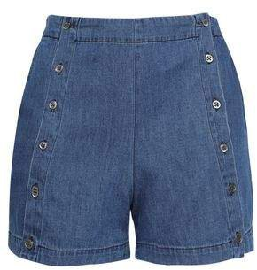 Amy Button-detailed Denim Shorts