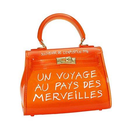 Women's Clear Bag Jelly Color Transparent Handbag PVC Purse (Large, Orange): Handbags: Amazon.com