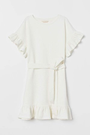 Ruffled Dress - White