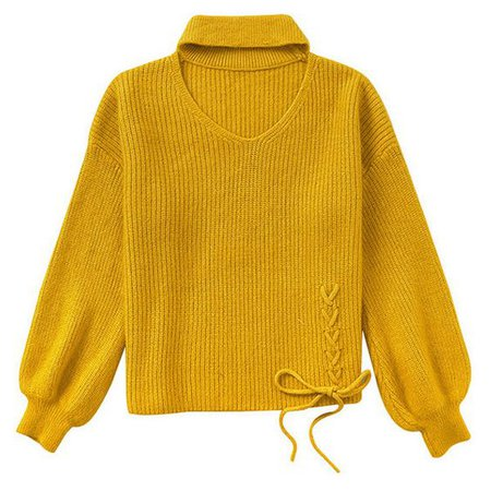 Yellow Puff Sleeve Knitted Jumper With Choker Detail