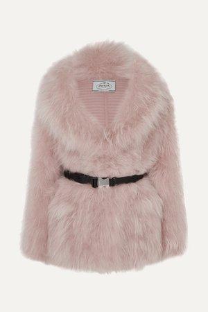 Prada   Belted goat hair coat   NET-A-PORTER.COM