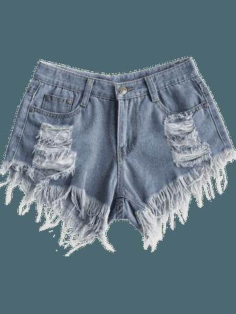Frayed Hem Ripped Denim Shorts DENIM BLUE: Shorts L | ZAFUL