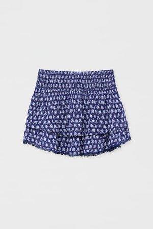 Ruffled print lace trim mini skirt - pull&bear