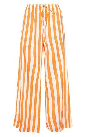 Bright Orange Stripe Split Side Wide Leg Trouser   PrettyLittleThing