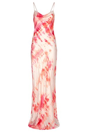 Pink coloured tie dye print slip dress with back detail - Ariel Dress – Rat & Boa