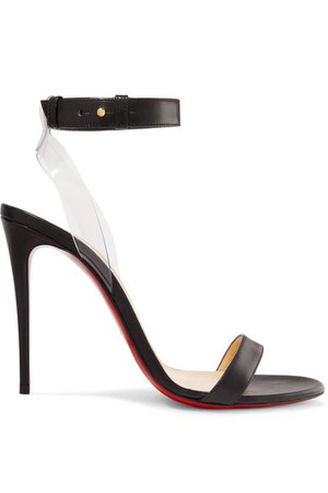 Christian Louboutin | Jonatina 100 PVC-trimmed leather sandals | NET-A-PORTER.COM