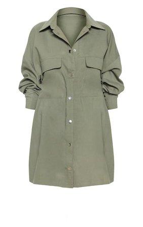 Khaki Cargo Oversized Popper Front Shirt Dress | PrettyLittleThing USA