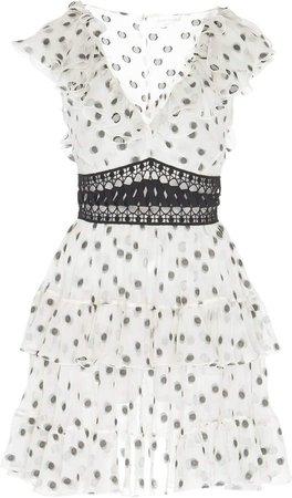 Polka Dot-Embroidered Chiffon Mini Dress
